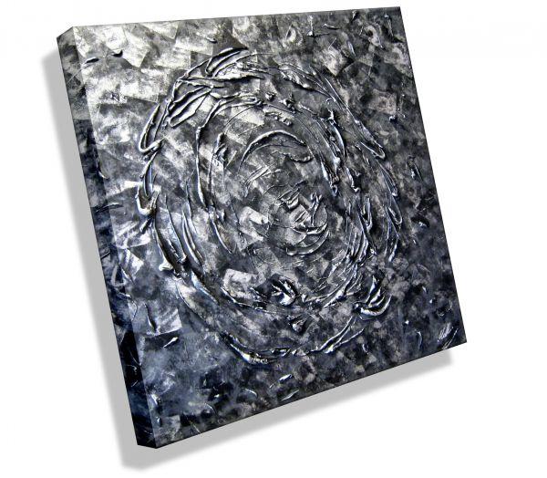 """Strukturgemälde """"Opus in Silber"""" 100 x 100 x 4 cm # 370"""