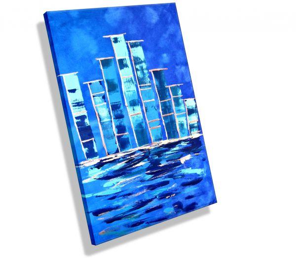 """Gemälde """"Blue Town"""" 100 x 60 x 1,8 cm # 386"""