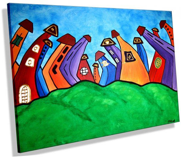 Cartoon-Village-comic-Häuser-Crazy-Colours-Atelier-MK1-Art-Melanie-Kuntz-Trier-XXL-Kunst-handgemalt-viele-bunte-Farben-Acrylfarben-Acrylbilder-Leinwand-moderne-abstrakte-zeitgenössische-Malerei-Originale-Unikate-Bilder-direkt-vom-Künstler-online-kaufen-Ga
