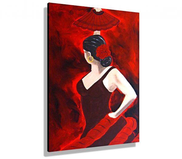 Atelier-MK1-Art-Melanie-Kuntz-Trier-XXL-Kunst-handgemalt-viele-bunte-Farben-Acrylfarben-Acrylbilder-Leinwand-moderne-abstrakte-zeitgenössische-Malerei-Originale-Unikate-Bilder-direkt-vom-Künstler-online-kaufen-Galerie-Shop-Flamenco-Tänzerin-Rot-schwarz-Kl