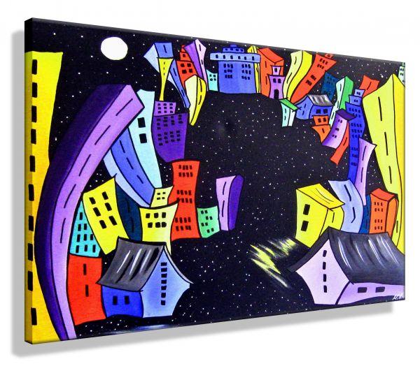 Crazy-Town-Atelier-MK1-Art-Melanie-Kuntz-Trier-XXL-Kunst-handgemalt-viele-bunte-Farben-Acrylfarben-Acrylbilder-Leinwand-moderne-abstrakte-zeitgenössische-Malerei-Originale-Unikate-Bilder-direkt-vom-Künstler-online-kaufen-Galerie-Shop-cartoon-comic-Häuser-