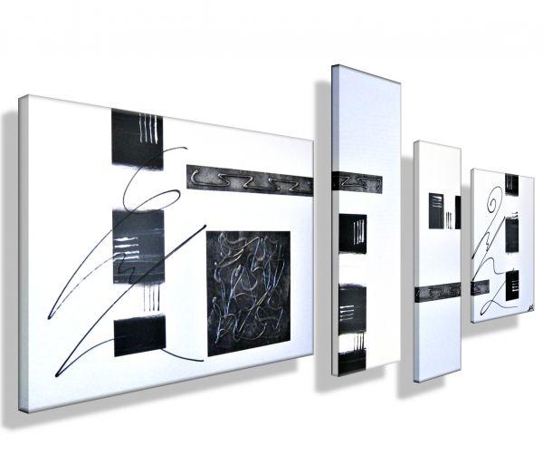 Atelier-MK1-Art-Melanie-Kuntz-Trier-XXL-Kunst-handgemalt-mehrteiliges-Bild-Acrylfarben-Acrylbilder-Leinwand-moderne-abstrakte-zeitgenössische-Malerei-Originale-Unikate-Bilder-direkt-vom-Künstler-online-kaufen-Galerie-Shop-schwarz-weiß-silber-struktur